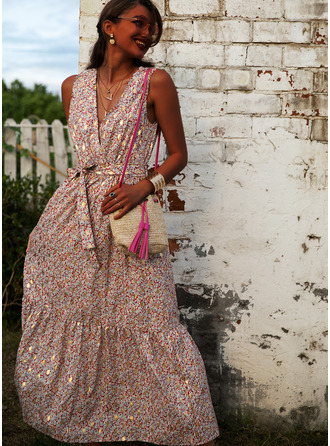 Print A-line V-Neck Sleeveless Maxi Casual Vacation Skater Dresses