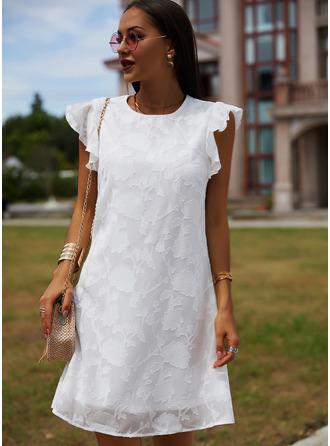 Lace Solid Round Neck Cap Sleeve Midi Dresses