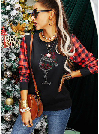 Round Neck Long Sleeves Regular Christmas Plaid Christmas Sweatshirt