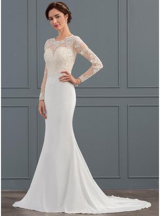 Trumpet/Mermaid Illusion Sweep Train Stretch Crepe Wedding Dress