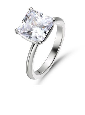 Solitaire Princess Cut 925 sølv Forlovelsesringer