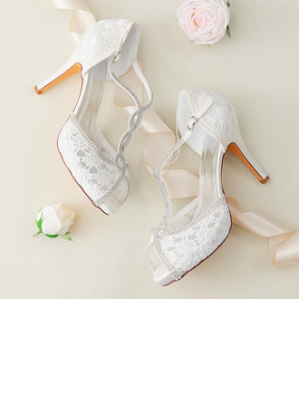 Women's Lace Silk Like Satin Stiletto Heel Peep Toe Platform Pumps With Buckle Crystal