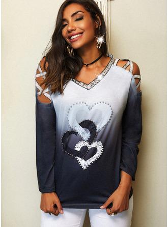 Regular Cotton Blends Cold Shoulder Print Sequins Gradient Heart Fitted Blouses