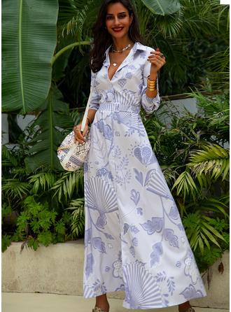 Print Shirt collar Long Sleeves Maxi Dresses