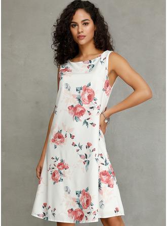 Floral Print Shift Round Neck Sleeveless Midi Casual Tank Dresses