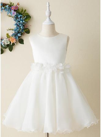 A-Line Knee-length Flower Girl Dress - Organza Sleeveless Scoop Neck