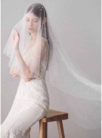 Two-tier Cut Edge Fingertip Bridal Veils With Faux Pearl