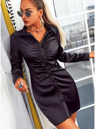 Solid Sheath Skjortekrage Lange ermer Midi Elegant Lille svarte Skjorte Motekjoler
