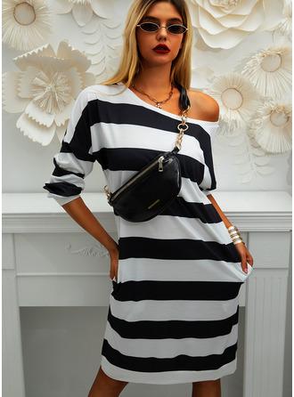 Striped Round Neck Long Sleeves Midi Dresses