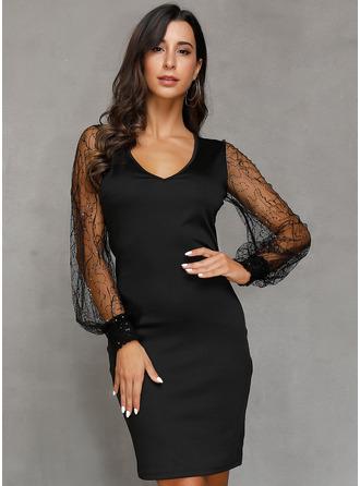 Lace Solid V-Neck Long Sleeves Lantern Sleeve Midi Dresses