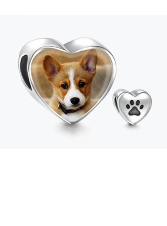 personlig Hjerte Bilde Perler med Dog Paw Footprint -