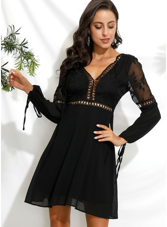 Lace Solid V-Neck Long Sleeves Puff Sleeves Midi Dresses