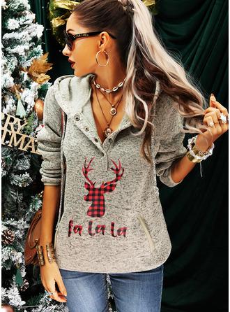 Long Sleeves Regular Christmas Animal Print Plaid Pockets Figure Christmas Sweatshirt