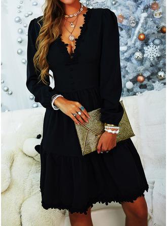Lace Solid A-line V-Neck Long Sleeves Midi Elegant Little Black Skater Dresses