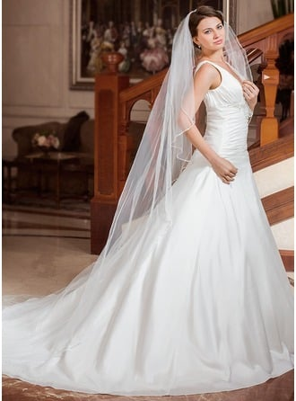 One-tier Beaded Edge Cathedral Bridal Veils With Beading