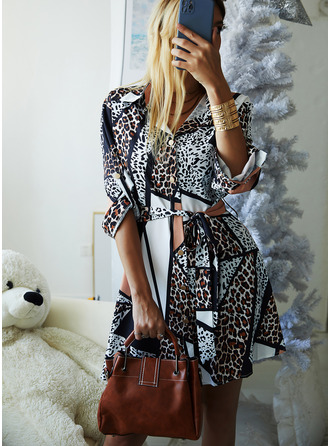 Leopard A-line Shirt collar Long Sleeves Midi Casual Shirt Skater Dresses