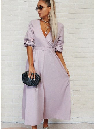 Solid A-line V-Neck Long Sleeves Maxi Casual Skater Dresses