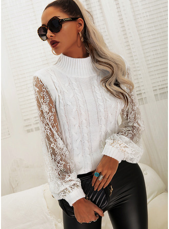 High Neck Long Sleeves Solid Casual Pullovers