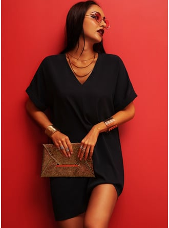 Solid Shift V-Neck Short Sleeves Midi Casual Little Black Dresses