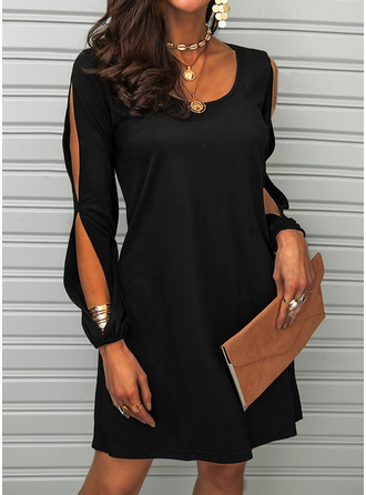 Solid Shift Round Neck Cold Shoulder Sleeve Midi Casual Little Black Dresses