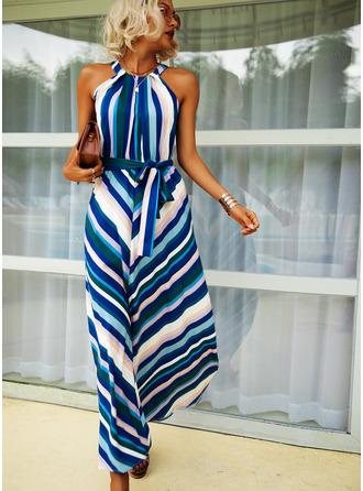 Print Striped A-line Halter Sleeveless Maxi Casual Skater Dresses