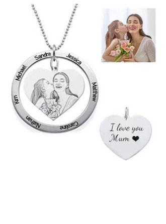 Custom Silver Circle Photo Necklace With Heart -