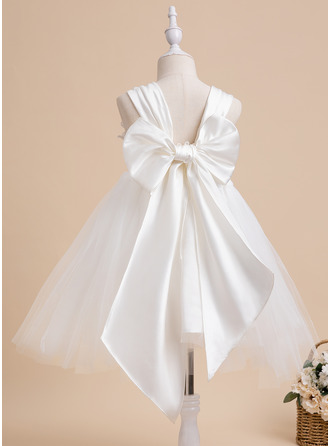 Ball-Gown/Princess Knee-length Flower Girl Dress - Sleeveless Square Neckline With Bow(s)