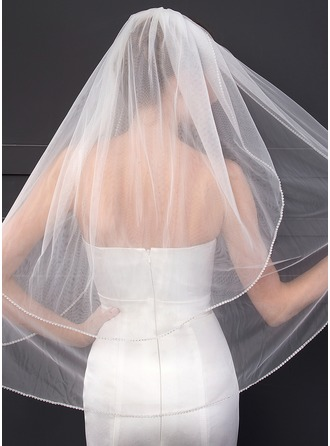 Two-tier Cut Edge Elbow Bridal Veils With Rhinestones