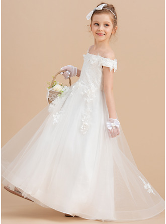 Ball-Gown/Princess Sweep Train Flower Girl Dress - Tulle/Lace Sleeveless Off-the-Shoulder With Flower(s)