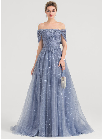 A-Line Off-the-Shoulder Sweep Train Tulle Evening Dress With Sequins