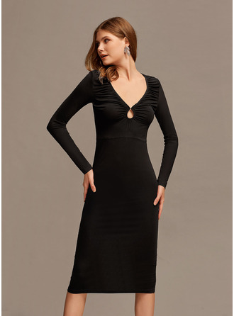 V-Neck Long Sleeves Midi Dresses