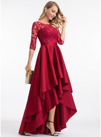 Round Neck 1/2 Sleeves Asymmetrical Dresses