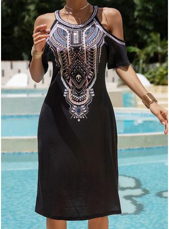 Print Shift Cold Shoulder Short Sleeves Midi Boho Casual Vacation Dresses