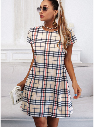 Plaid Sheath Round Neck Short Sleeves Midi Casual Dresses