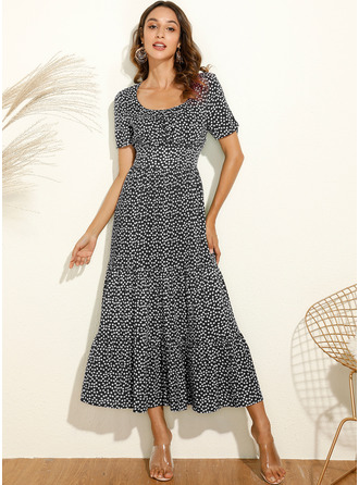 PolkaDot Square Neck Short Sleeves Midi Dresses