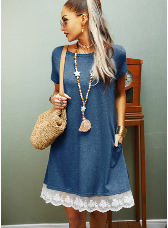 Lace Shift Round Neck Short Sleeves Midi Casual T-shirt Dresses