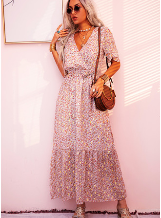 Print A-line V-Neck Short Sleeves Maxi Boho Casual Vacation Skater Wrap Dresses