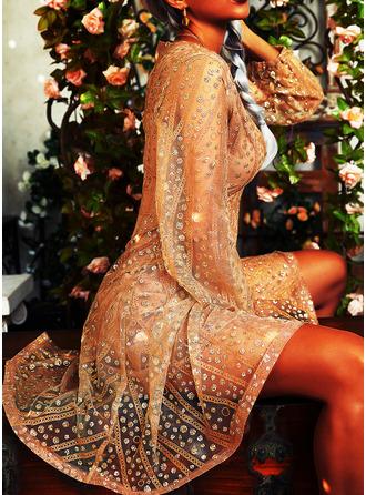 paljetter A-line kjole V-hals Lange ermer Midi Party Ferie skater Motekjoler