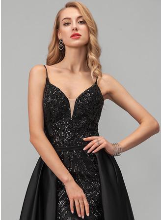 A-Line V-neck Floor-Length Satin Prom Dresses With Sequins
