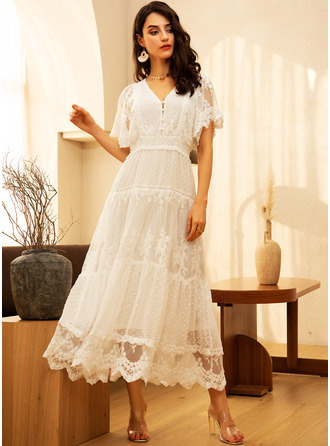 Lace Solid V-Neck Short Sleeves Maxi Dresses
