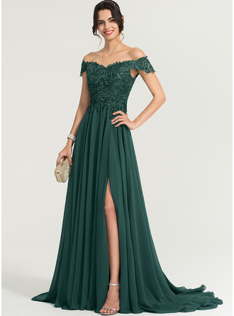 A-Line Off-the-Shoulder Sweep Train Chiffon Evening Dress With Sequins Split Front
