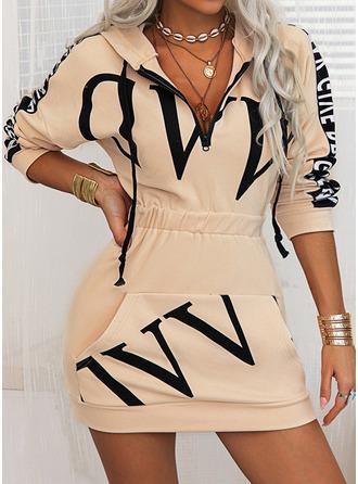 Print Bodycon Hooded Long Sleeves Midi Casual Sweatshirt Dresses