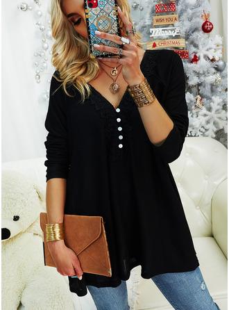 Regular Cotton Blends V-Neck Lace Solid Knit Blouses