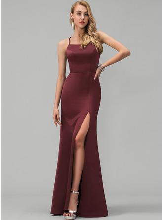 Sheath/Column Square Neckline Floor-Length Satin Prom Dresses With Split Front