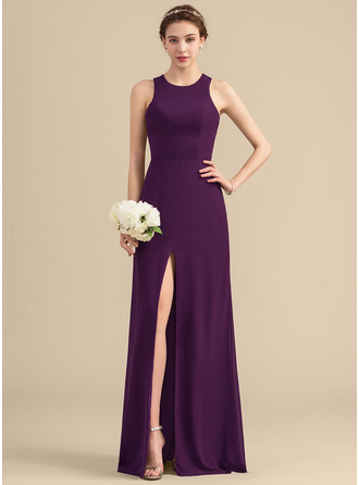 Scoop Neck Floor-Length Chiffon Bridesmaid Dress With Split Front