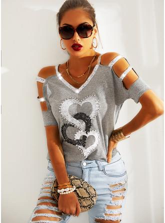 Regular Cotton Blends Cold Shoulder Print Sequins Heart 3XL L S M XL XXL Blouses