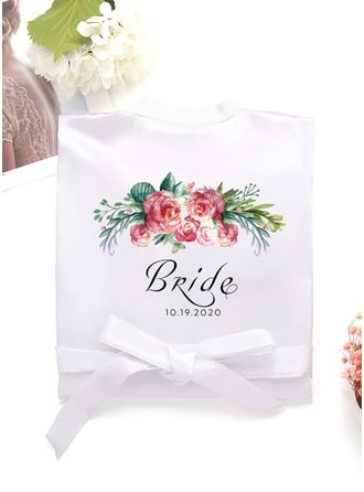 Personalized Charmeuse Bride Bridesmaid Mom Junior Bridesmaid Lace Robes
