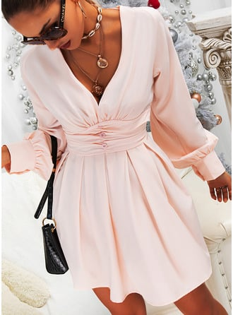 Solid A-line V-Neck Long Sleeves Midi Elegant Skater Dresses