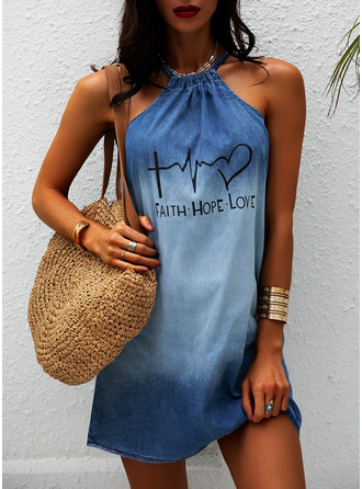 Print Shift Halter Sleeveless Midi Denim Casual Dresses