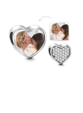 personlig Hjerte Bilde Perler med Bane Cubic Zirconia - Valentines Gaver